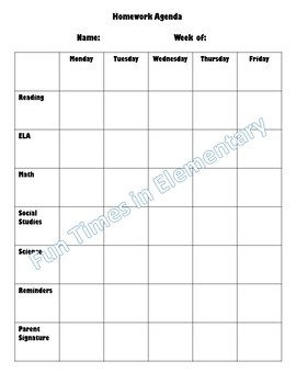 Editable Homework Agenda