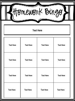 Editable Homework Bingo