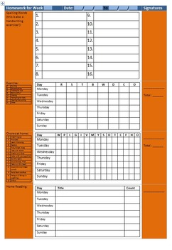 Editable Homework Booklet Record