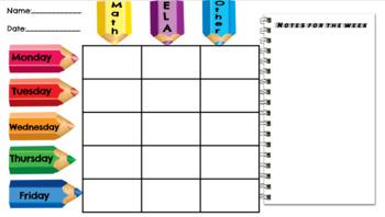 Editable Homework Calendar