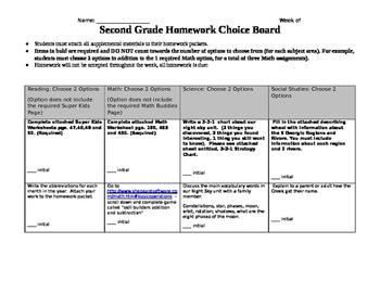 Editable Homework Choice Board