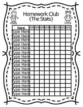 Editable Homework Club FREEBIE