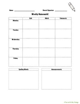 Editable Homework Cover Sheet