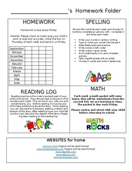 Editable Homework Cover Sheet Weekly
