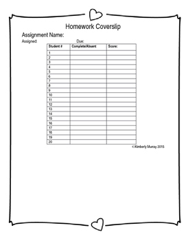 Editable Homework Cover Slip