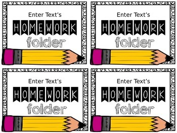 Editable Homework Folder Labels