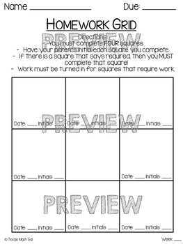 Editable Homework Grid
