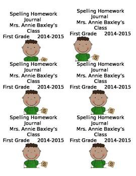 Editable Homework Journal labels