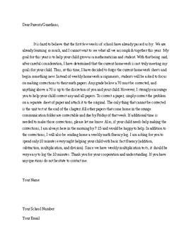 Editable Homework Letter