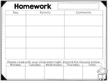 Editable Homework Logs