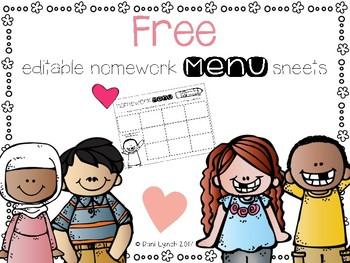 Editable Homework Menu Sheets