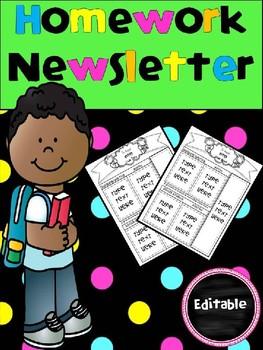 Editable Homework Newsletter