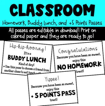 Editable Homework Pass