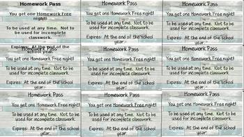 Editable Homework Passes