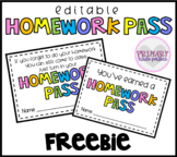 Editable Homework Passess FREEBIE