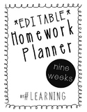 Editable Homework Planner for Teachers