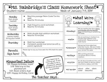 Editable Homework Sheet for Google Slides