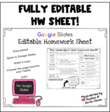 Editable Homework Sheet for Google Slides