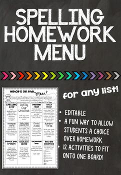 Editable Homework Spelling Menu