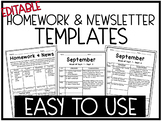 Editable Homework and Newsletter Template