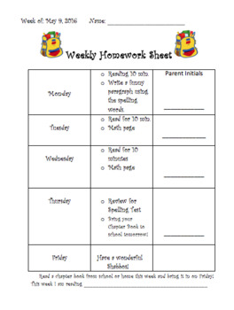 Editable Homewrok Sheet