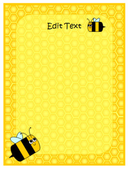 Editable Honey Bee Signs and Table Numbers