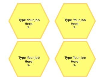 Editable Honeycomb Classroom Job Description Cards