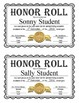 Editable Honor Roll Certificates - Gold, Silver, and Bronze - Full and Half Page