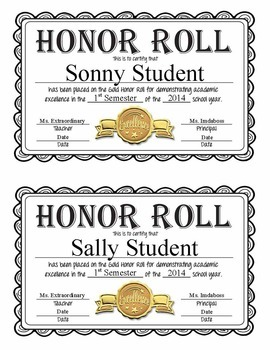 Editable Honor Roll Certificates Gold Silver And Bronze Full
