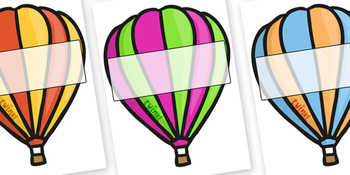 Editable Hot Air Balloons (Stripes)