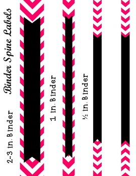 Editable Hot Pink Chevron and Quatrefoil Binder Cover and Spine Label