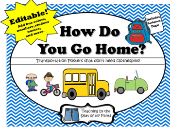 Editable: How Do You Go Home? Chevron Posters and Backpack Tags
