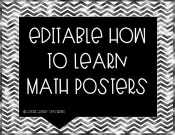 Editable How to Learn Math Posters