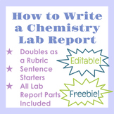 Editable How to Write a Chemistry Lab Report Outline and Rubric