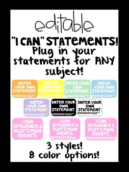 """Editable """"I CAN"""" Statements for ANY Subject!"""