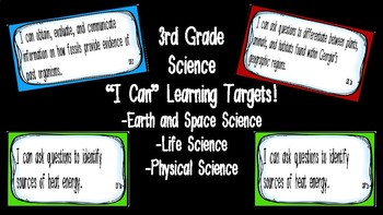 """Editable """"I Can"""" Science Learning Targets (3rd Grade) - Ge"""