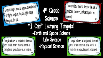 "Editable ""I Can"" Science Learning Targets (4th Grade) - Ge"