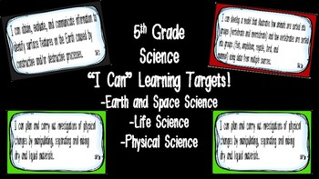 """Editable """"I Can"""" Science Learning Targets (5th Grade) - GSE"""
