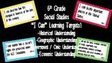 """Editable """"I Can"""" Social Studies Learning Targets (5th Grade) - GSE"""