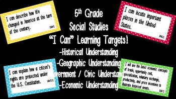"Editable ""I Can"" Social Studies Learning Targets (5th Grade) - GSE"