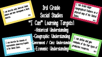 """Editable """"I Can"""" Social Studies Learning Targets (3rd Grade) - GSE"""