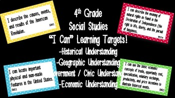 """Editable """"I Can"""" Social Studies Learning Targets (4th Grade) - GSE"""
