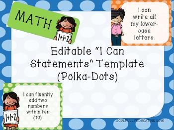 Editable I Can Statement Template (Polka-Dot Edition)