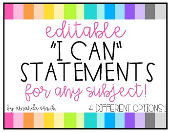 Editable I Can Statements