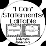"""Editable """"I Can"""" Statements - BW"""