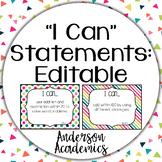 "Editable ""I Can"" Statements - Rainbow"