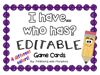 """Editable """"I Have, Who Has"""" Cards in 4 different colors!"""