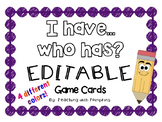 "Editable ""I Have, Who Has"" Cards in 4 different colors!"