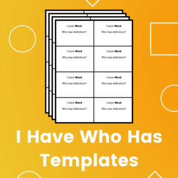 """Editable """"I Have Who Has"""" Templates for Any Subject (with Instructions)"""