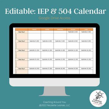 Editable: IEP & 504 Calendar